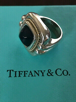 Tiffany & Co. Black Onyx Sterling Silver and 18k Yellow Gold Ring size 5