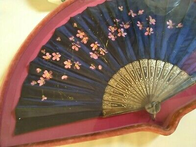 Antique Fan Hand Painted with Display in Velvet