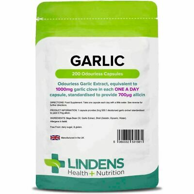Garlic 1000-Mg Odourless High Quality(Soft Gel Oil 200 Capsules) 100% Pure
