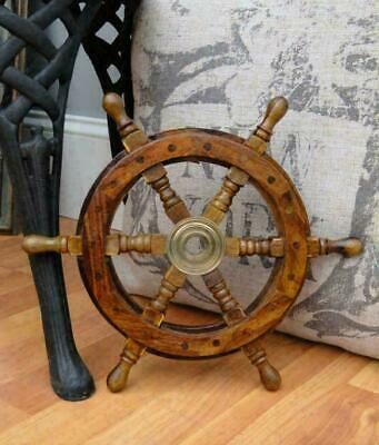 "12"" Wooden Steering Pirates Boat Ship Captain Nautical maritime Wheel Home Decor"