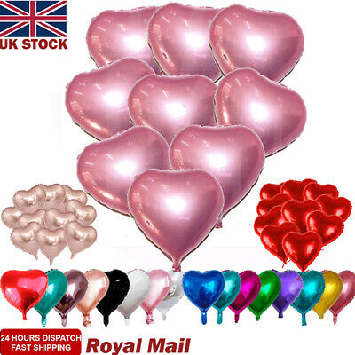 "UK 18"" Inch 10/20/50x Heart Foil Balloons Party Helium Quality Wedding Rose Gold"