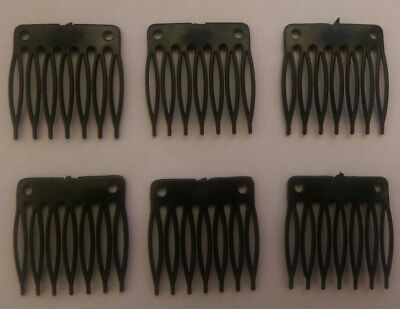6 Black Hair Combs Plastic Wig Clips Combs Wig Cap Clips UK Seller Fast Delivery