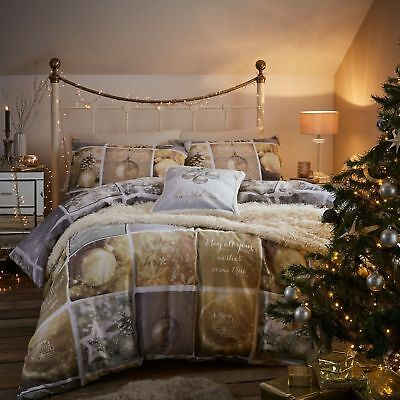 Catherine Lansfield Christmas Greetings Duvet Cover Silver & Gold Bedding Double