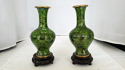 Pair of Vintage Chinese Cloisonne vases with stands green color