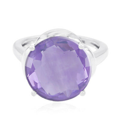 Real Gemstones Round Faceted Amethyst rings - 925 Sterling Silver gift sister US