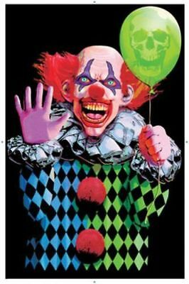 🤡💀 Evil Clown - Blacklight Poster - 24X36 Flocked Balloon Horror Scary 🔥🔥🔥