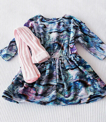 Next Baby Girls Marble Print Dress & Pink Tights Age 6-9 Months BNWT