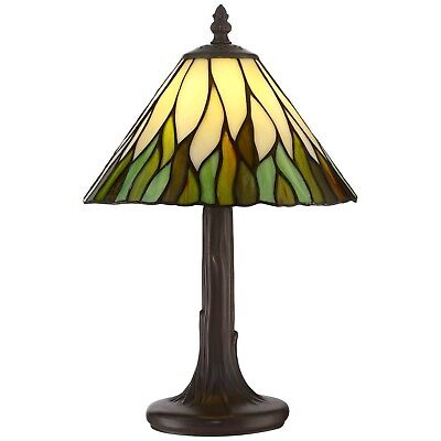 Tiffany Style Table Lamp Green Stained Glass Shade Resin Base