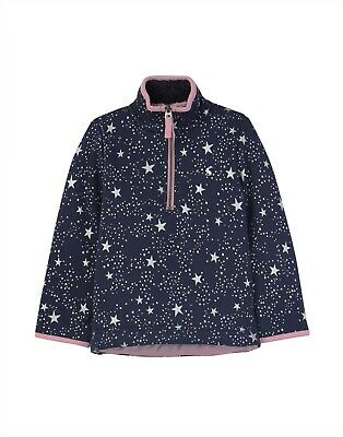 NEW! Joules Girls Fairdale Fur Lined Navy & Silver Star Zip Sweatshirt 6-12yrs