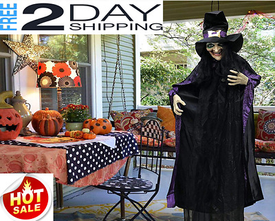 Halloween Decorations Life Size Animated Witch with LED Eyes and Spooky Sounds