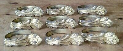 set of 9 French Bronze ACANTHUS LEAVES Curtain Chateau RINGS anneaux de rideaux