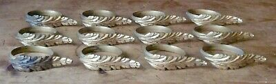 set of 12 French Bronze ACANTHUS LEAVES Curtain Chateau RINGS anneaux de rideaux