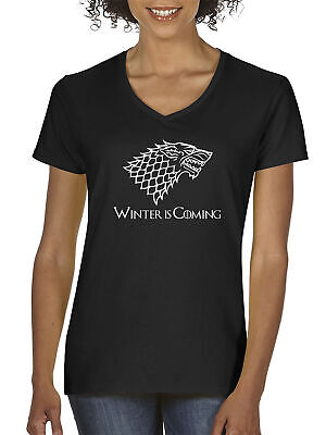 New Way 1217 - Women's V-Neck Winter Is Coming Stark Sigil Game Of Thrones