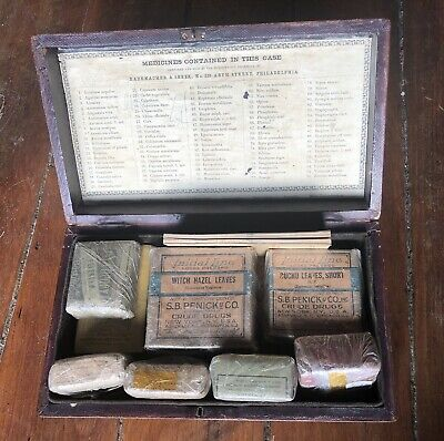 19th Century Medical Kit Confederate Box Inscribed Herbal Remedies Antique