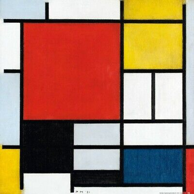 Composition with Red Blue Yellow PIET MONDRIAN Art Print Poster 23.5x31.5