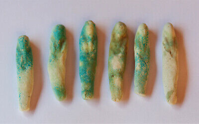 lOT of 6 , Ancient Turquoise Ushabty  Egypt  2nd Millenum  BC