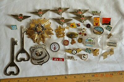 Junk Drawer Lot Pins Badges Shriners Scouts Airline