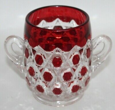Antique EAPG George Duncan & Co. RUBY RED Block Spooner