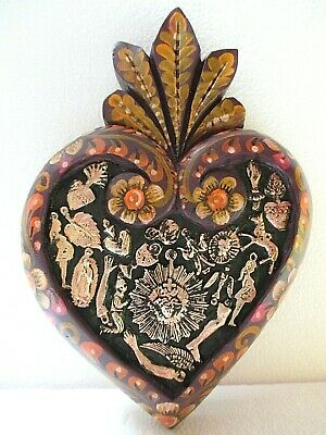 Mexican Folk Art Carved Wood Wall Heart Milagro Prayer Charm Ex Voto 9""