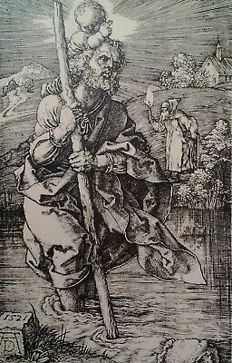 Oxford UK Antique Postcard Early 1900s St. Christopher Etching Ashmolean