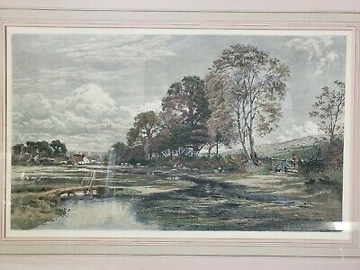 Large Antique Etching English Country Scene Marad Wall Decore Hand Painted Print