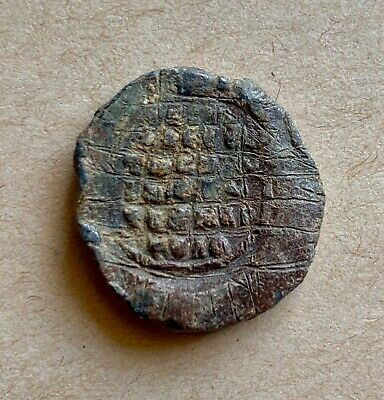 Byzantine lead seal/siegel with Mother of God orans and inscription (11th cent.)