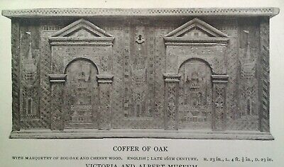 London UK Antique Postcard Early 1900s Victoria Museum Coffer of Oak Church