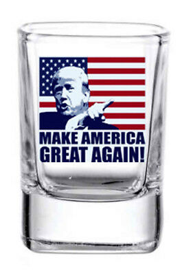 Trump MAGA 2 oz. Square whiskey / shot glass NEW