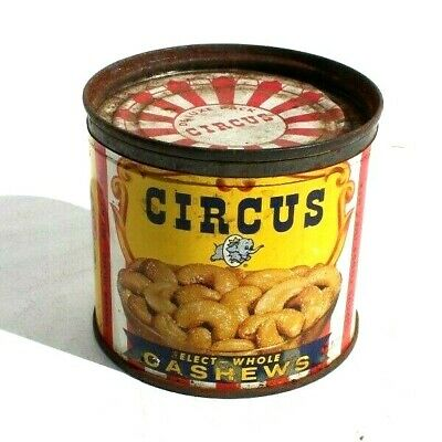 Vintage Circus Select Whole Cashews 6 oz Tin