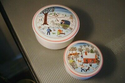 "Villeroy & Boch ""Naif Christmas"" Small 3"" and Medium 3 7/8"" Candy Box Dish Nice!"