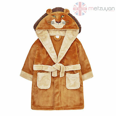 Kids Infant Boys Lion Dressing Gown King Animal Plush Fleece Robe Face Hooded 3D