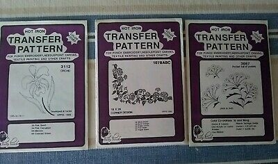 NEW Pretty Punch Iron Transfer Pattern Crafts Flowers Lot 3 Corner Embroidery