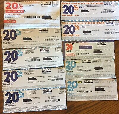 Bed Bath & Beyond Coupons Lot Of 10  20% Off (1) Entire Purchase (9) Single Item