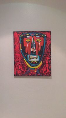 SIGNED OIL ON CANVAS PAINTING Jean Michel Basquiat Style Tribal Mask Street Art