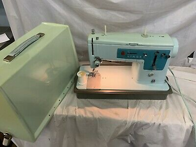 Vintage 1960s Singer Model 347 Sewing Machine Turquoise Blue W/Case TESTED WORKS