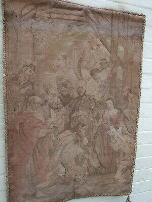 """Antique Peter Paul Rubens French Tapestry """"Adoration of the Magi''C.1890 Signed"""