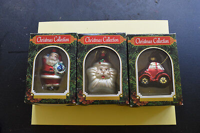 Lot of 3 Christmas Collection Glass Ornaments