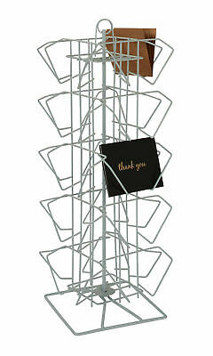 "Spinner Rack Post Card Counter  20 Pocket Holds 100 4"" H x 6"" W Cards White Wire"