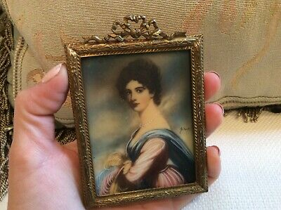 Antique Vtg Victorian French Miniature Signed Lady Frame Metal painting