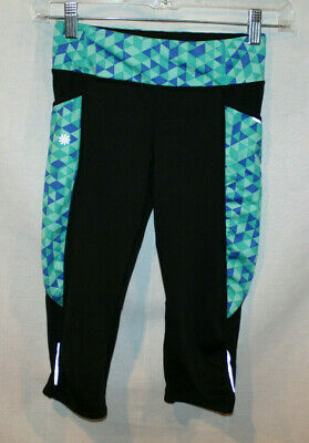 Athleta Girl Leggings Capri Size 8 - 10Pockets Black Blue & Green Geo