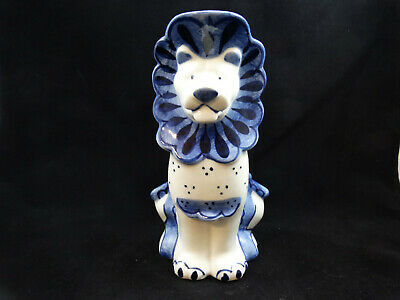Vintage Gzhel Russia USSR Handpainted Blue And White Lion Creamer