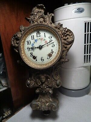 Antique-Gilbert-Statue Clock-Movement & Partial Case-Ca.1900-To Restore-#T854