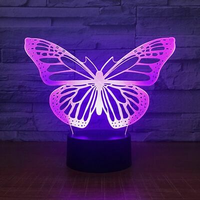 Butterfly 3d Small Night Light Touch Remote Switch Control Usb Table Lamp Gift