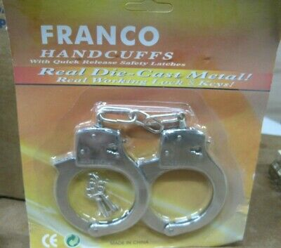 Franco Handcuffs Real Die-Cast Metal Real Working Lock and Keys