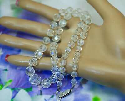 Antique Vintage Jewellery Necklace with Glass Crystal Facet Cut Beads Jewelry