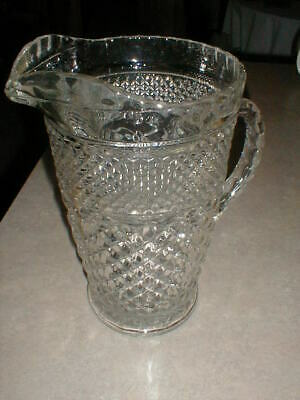 Vintage Pressed Glass Diamond Pattern Pitcher Ribbed Handle Water, Ice Tea Old