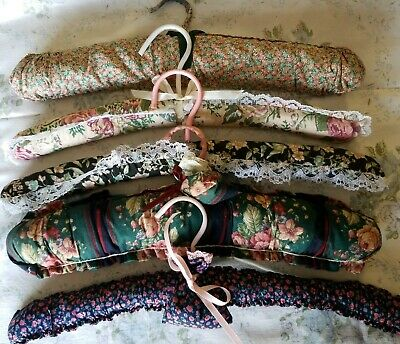 Knitted Vintage 5 Coathangers floral print grandma crochet lace fabric LOT 8