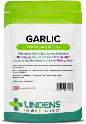 Garlic 1000-Mg Odourless High Potency(Soft Gel Oil 1000 Capsules) 100% Pure