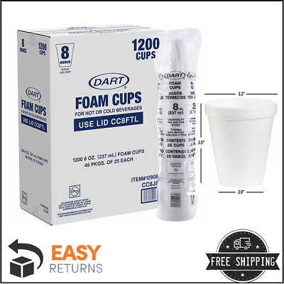Styrofoam Coffee Cups Hot Cold Beverage White Foam Drink Cup 8 ounce 1000 Ct