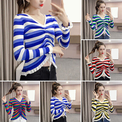 Women Long Sleeve Striped Drawstring Blouse Shirts Knitted Ruffles Party Tops